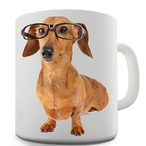 Doxie Dachshund Hipster Dog Novelty Mug