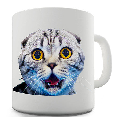 Funny Surprised Cat Novelty Mug