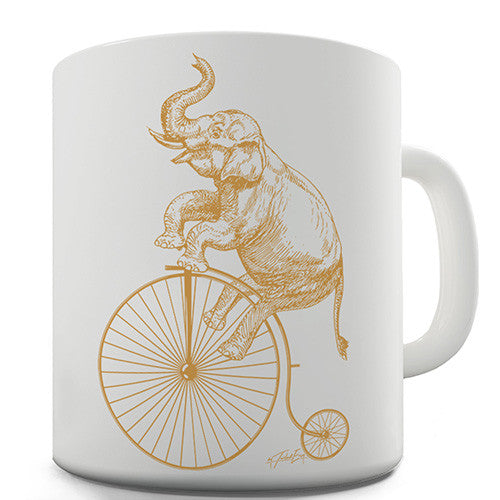 Elephant On A Penny Farthing Novelty Mug