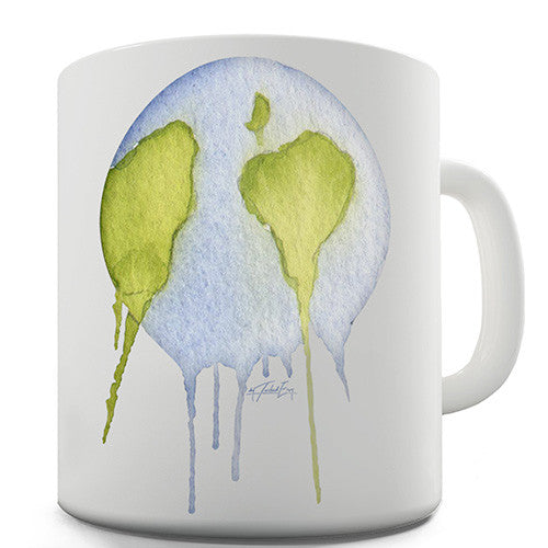 Dripping Watercolour Planet Earth Novelty Mug