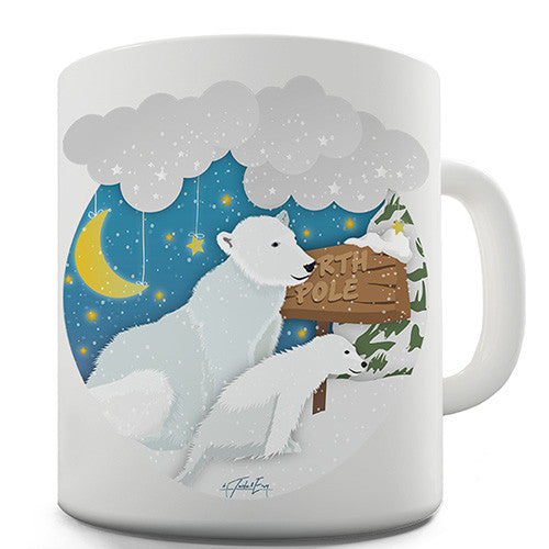 Polar Bear At The North Pole Novelty Mug