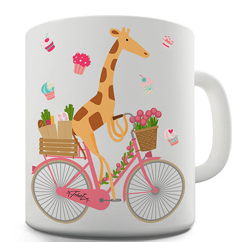 Happy Giraffe Riding A Bicycle Novelty Mug