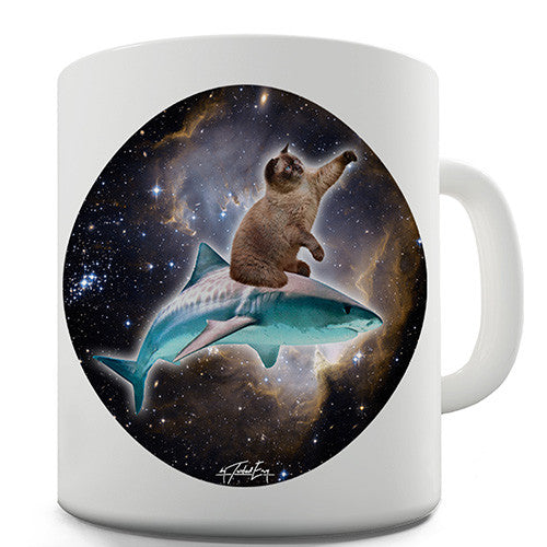 Cat Riding A Shark In Space Novelty Mug
