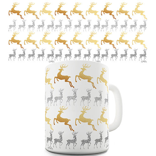 Gold & Silver Reindeer Pattern Novelty Mug