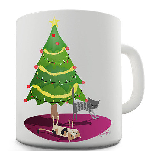Cats Under The Christmas Tree Novelty Mug