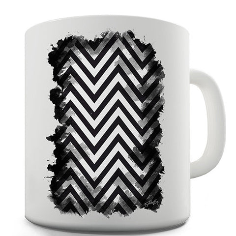 Black & White Geometric Chevron Pattern Novelty Mug