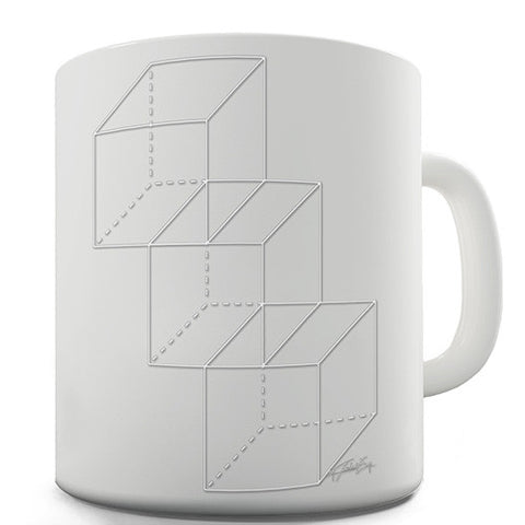 Geometric White Cubes Novelty Mug