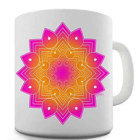 Geometric Pink & Orange Mandala Novelty Mug