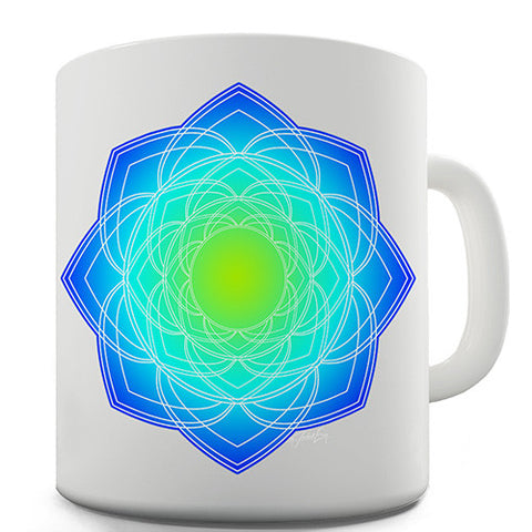 Geometric Blue & Green Mandala Novelty Mug