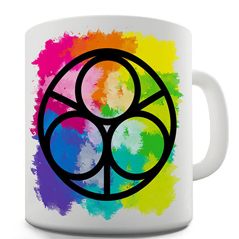 Geometric Rainbow Circles Ceramic Novelty Mug