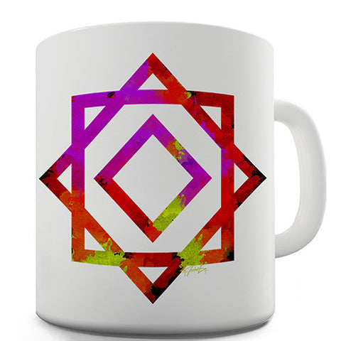 Geometric Paint Splattered Squares Novelty Mug
