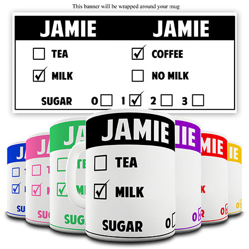 Colourful Drink Order Personalised Mug
