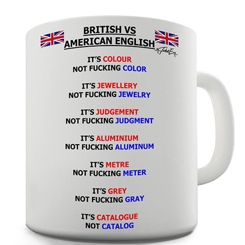 British vs American English Words Novelty Mug