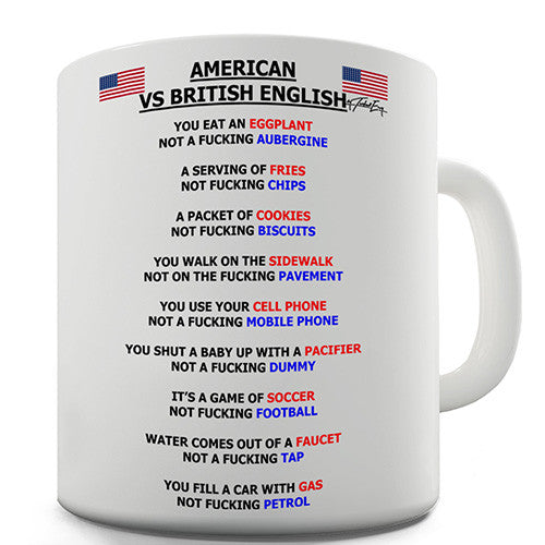 American vs British English Grammar Novelty Mug