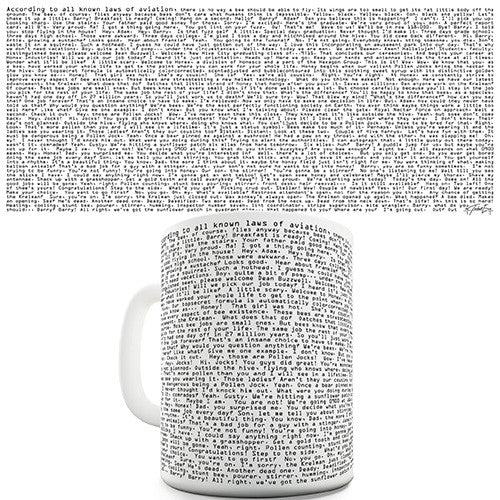 Bee Movie Script Novelty Mug