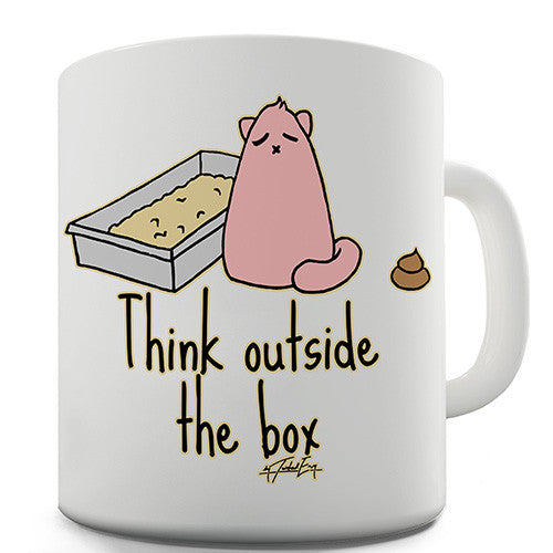 Cat Think Outside The Box Novelty Mug