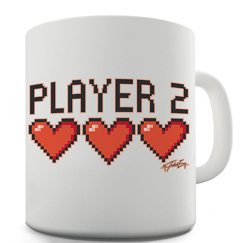 Player 2 Hearts Novelty Mug
