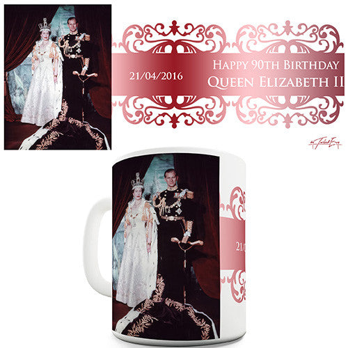 90th Birthday Queen Elizabeth II Novelty Mug