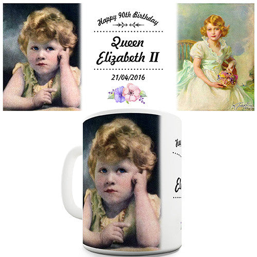 90th Birthday Young Elizabeth II Novelty Mug