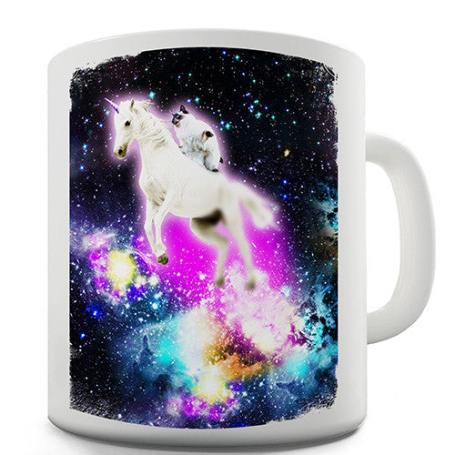 Cat Riding Unicorn In Space Novelty Mug