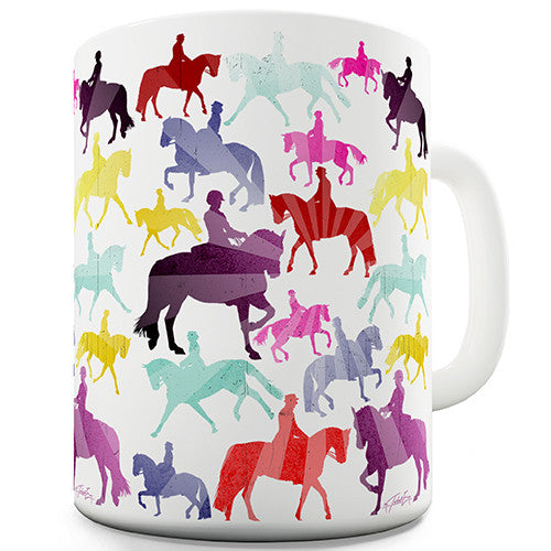 Dressage Rainbow Collage Novelty Mug
