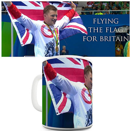 Adam Peaty Flying The Flag Novelty Mug