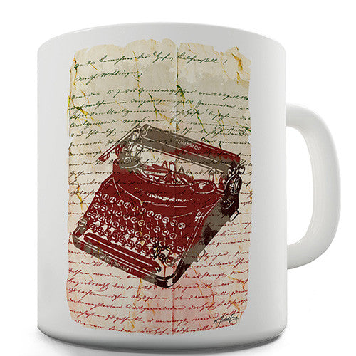 Book Print Typewriter Novelty Mug