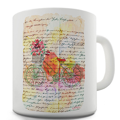 Book Print Floral Bicycle Novelty Mug