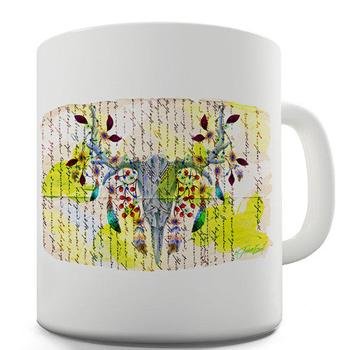 Book Print Animal Skull Feathers Novelty Mug