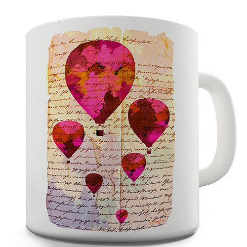 Book Print Hot Air Balloons Novelty Mug