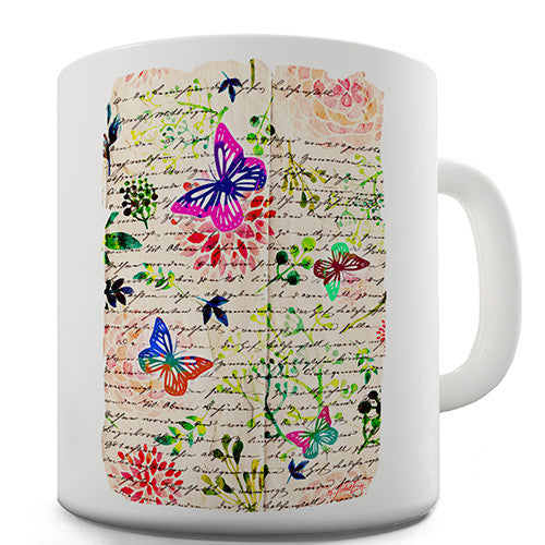 Book Print Butterflies And Flowers Novelty Mug