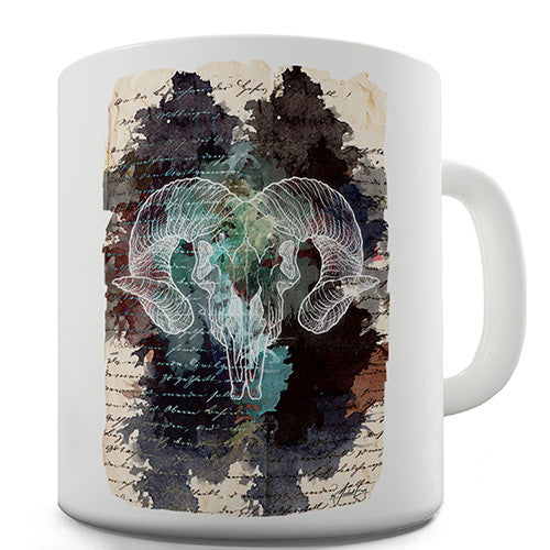 Book Print Ram Skull Novelty Mug
