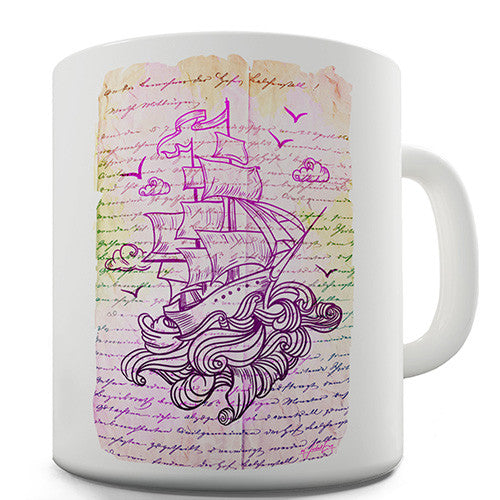 Book Print Pirate Ship Novelty Mug