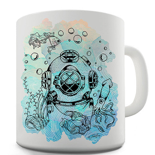 Diver With Fishes Novelty Mug