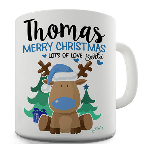 Blue Christmas Reindeer Personalised Mug
