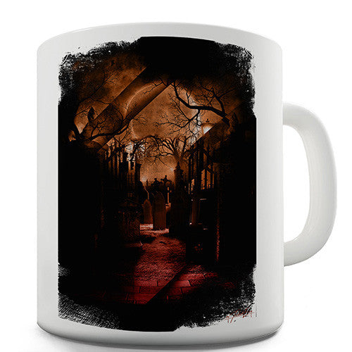 Spooky Red Graveyard Novelty Mug