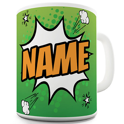 Green Comic Book Style Personalised Mug