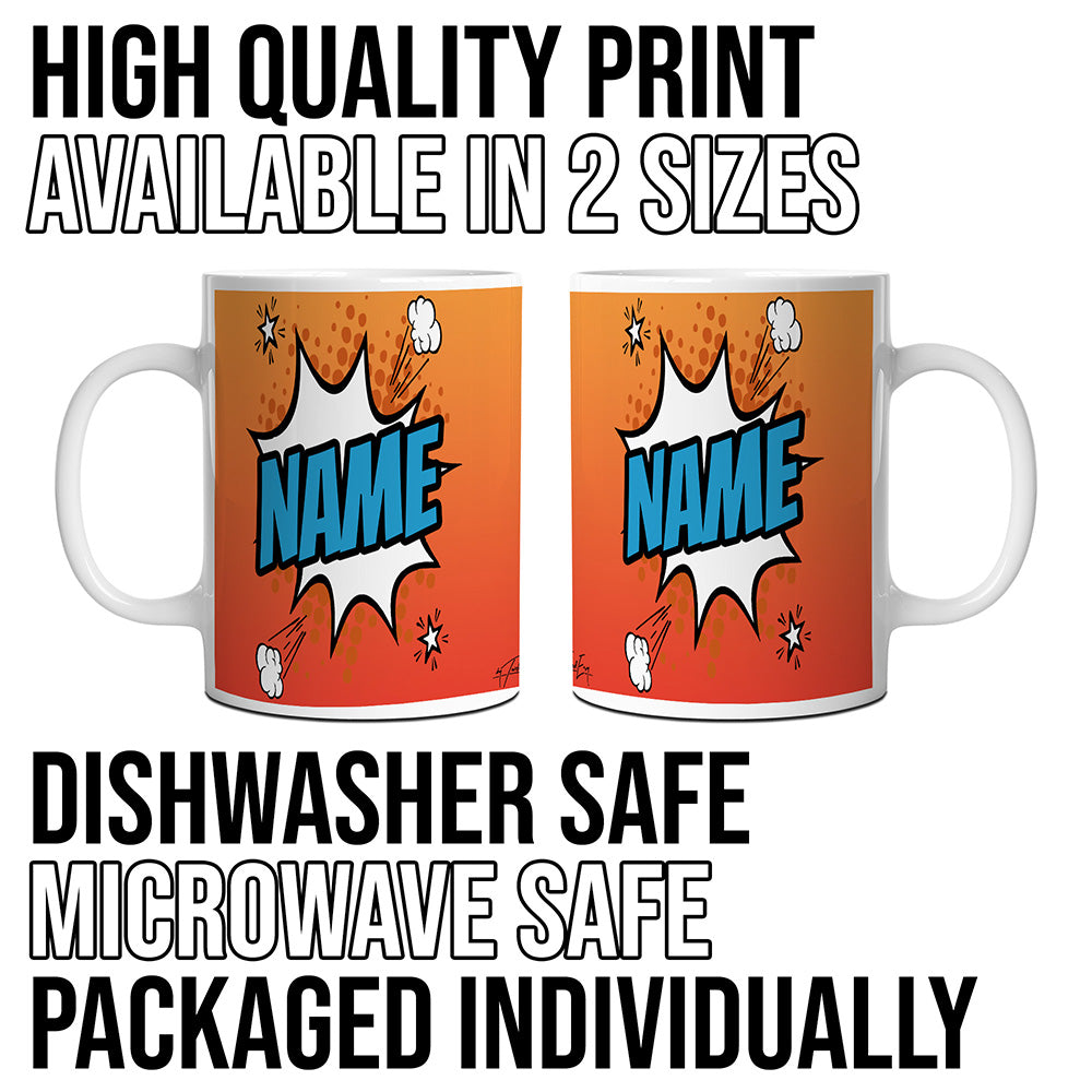 Orange Comic Book Style Personalised Mug