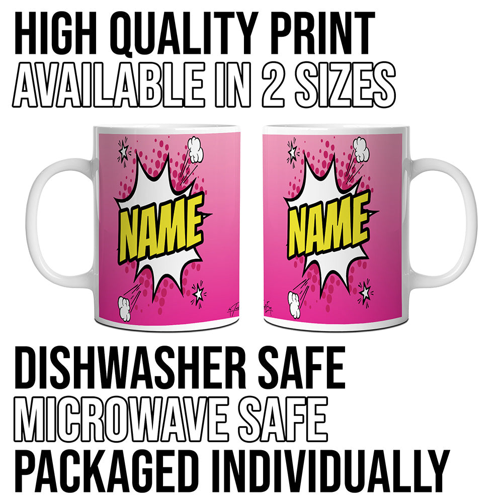 Pink Comic Book Style Personalised Mug