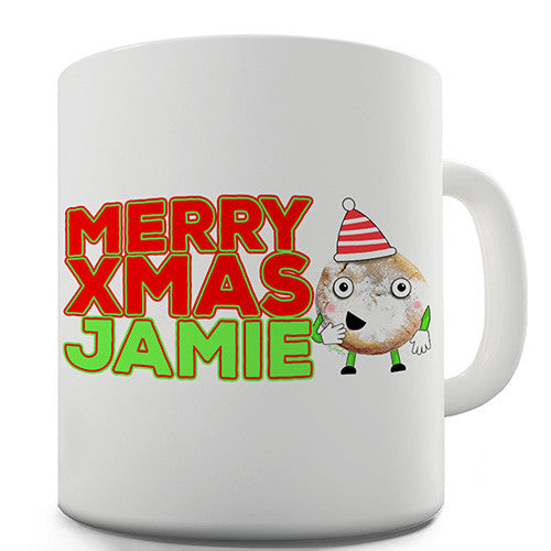 Cartoon Christmas Mince Pie Personalised Mug