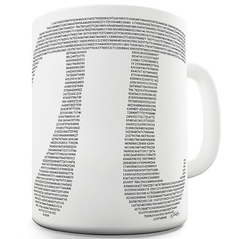 Pi Numbers In The Shape Of Pi Novelty Mug
