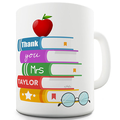 Apple Books Teacher Personalised Mug