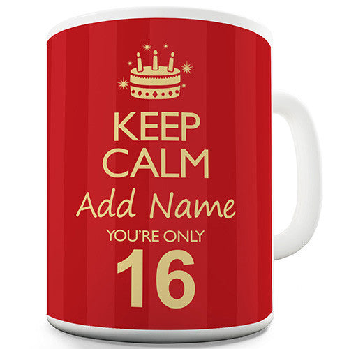 Keep Calm Birthday Age Personalised Red Funny Mug