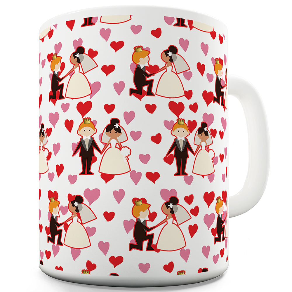 Harry And Meghan Hearts Pattern Ceramic Novelty Mug