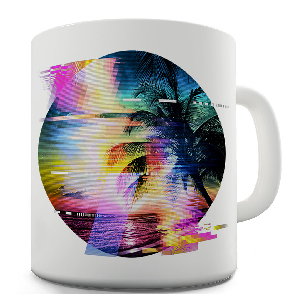 Palm Tree Glitch Art Funny Mugs For Friends