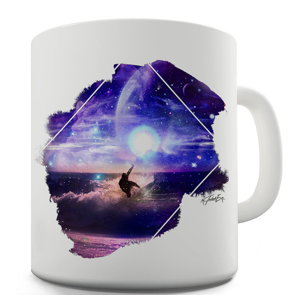 Galaxy Surfing Ceramic Mug Slogan Funny Cup