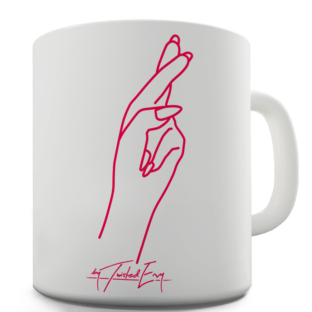 Fingers Crossed Pocket Ceramic Funny Mug