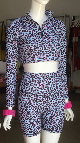 Glimpse Zip Long Sleeve Top - Cotton Candy Leopard