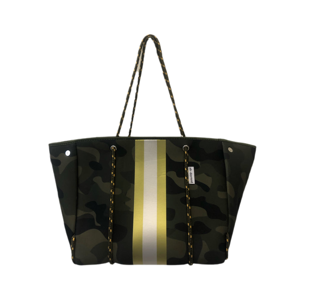 Striped Neoprene Tote - Camo/Gold/White