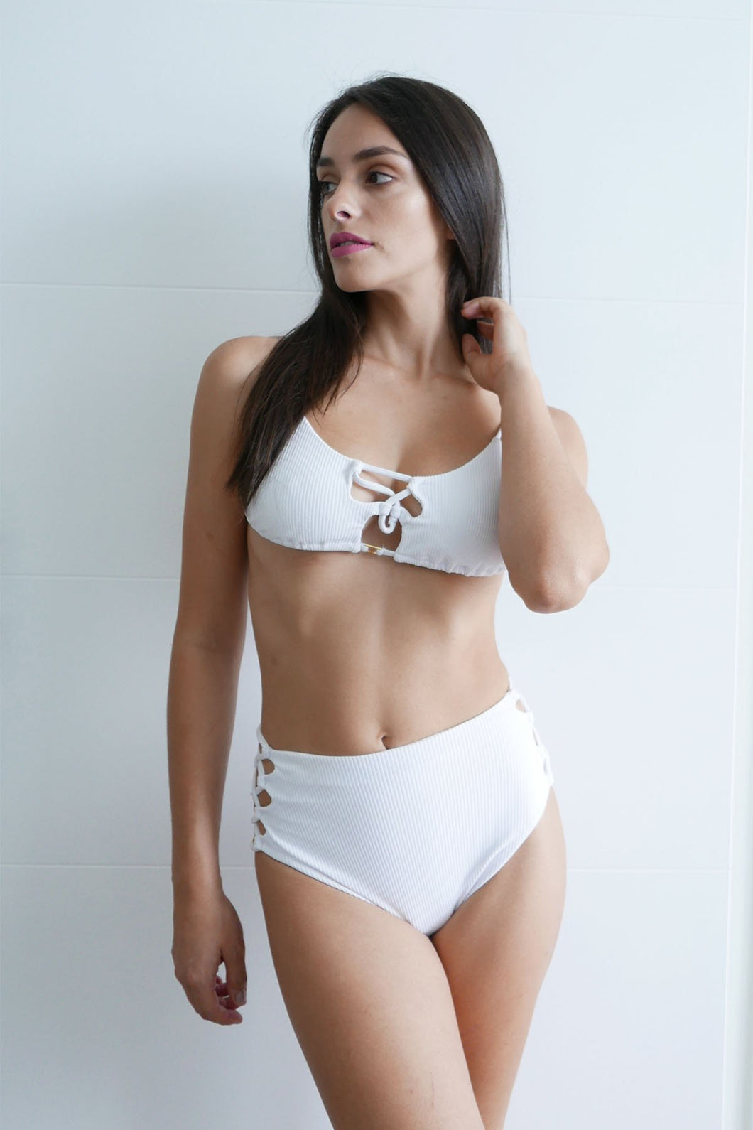 Emily High Waist Bikini Bottom-White Rib